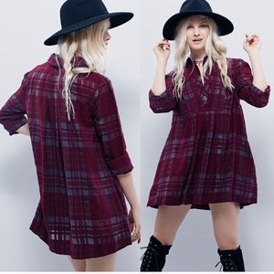 Free People Baby Blues Red Gray Plaid Tunic Dress